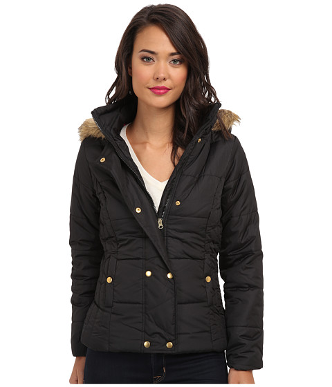 Gabriella Rocha - Double Snap Puffer Coat w/ Faux Fur Trim Hood (Black) Women's Coat