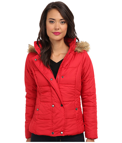 Gabriella Rocha - Double Snap Puffer Coat w/ Faux Fur Trim Hood (Red) Women's Coat