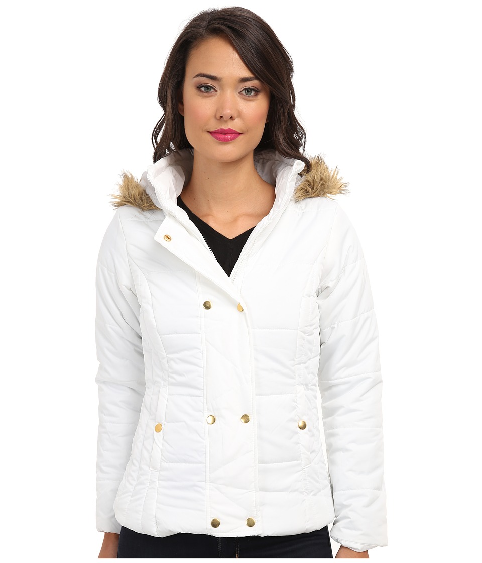 Gabriella Rocha - Double Snap Puffer Coat w/ Faux Fur Trim Hood (White) Women