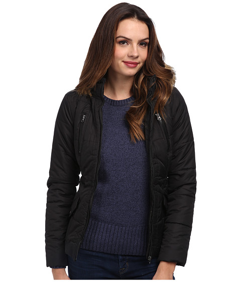 Gabriella Rocha - Zip Front Puffer Coat w/ Faux Fur Trim Hood (Black) Women's Coat