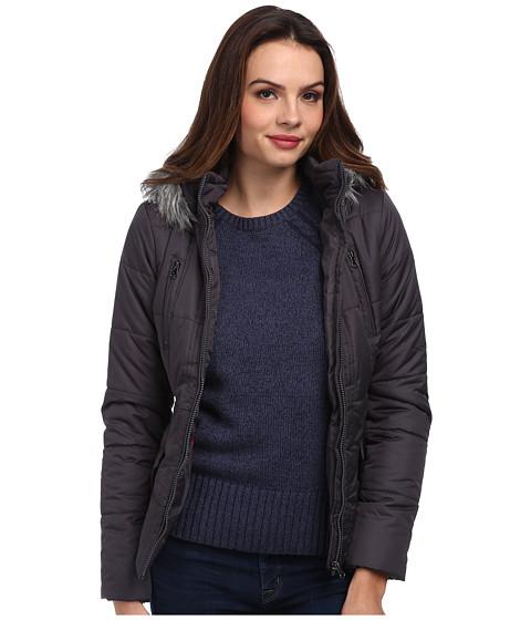 Gabriella Rocha - Zip Front Puffer Coat w/ Faux Fur Trim Hood (Charcoal) Women