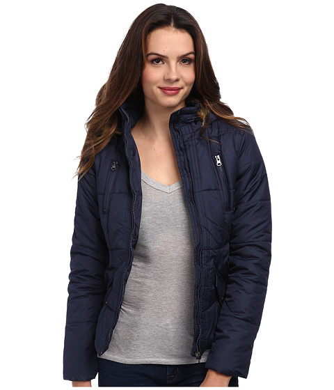 Gabriella Rocha - Zip Front Puffer Coat w/ Faux Fur Trim Hood (Navy) Women's Coat
