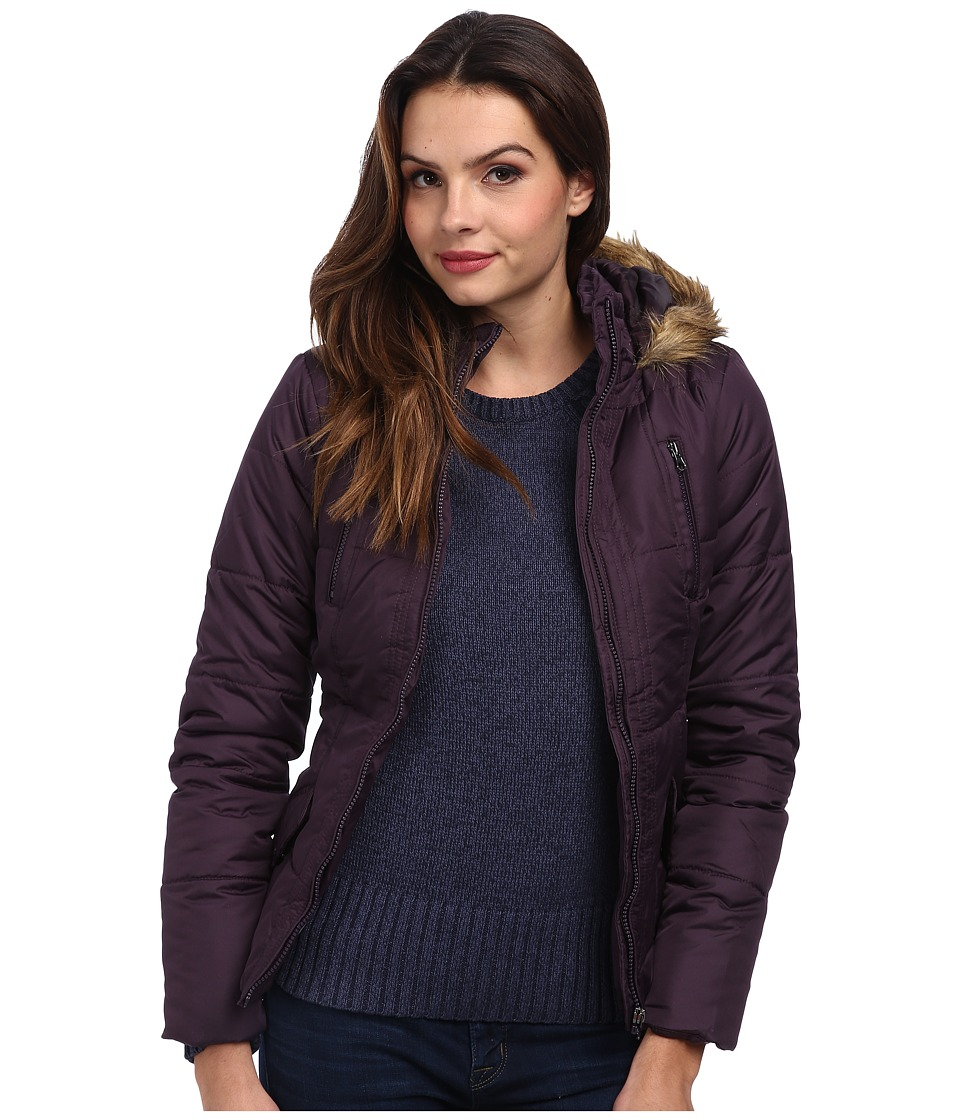 Gabriella Rocha - Zip Front Puffer Coat w/ Faux Fur Trim Hood (Purple) Women