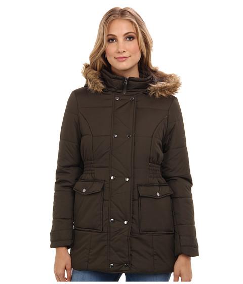 Gabriella Rocha - 3/4 Double Snap Puffer Coat w/ Faux Fur Trim Hood (Olive) Women