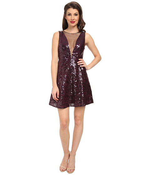 BCBGMAXAZRIA - Selina Sleeveless Deep V-Neck Dress (Deep Port Combo) Women's Dress