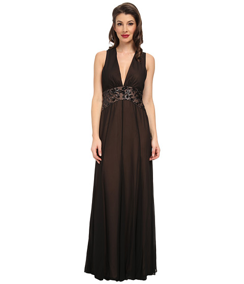 BCBGMAXAZRIA - Stacy Deep V-Neck Evening Dress (Black) Women's Dress