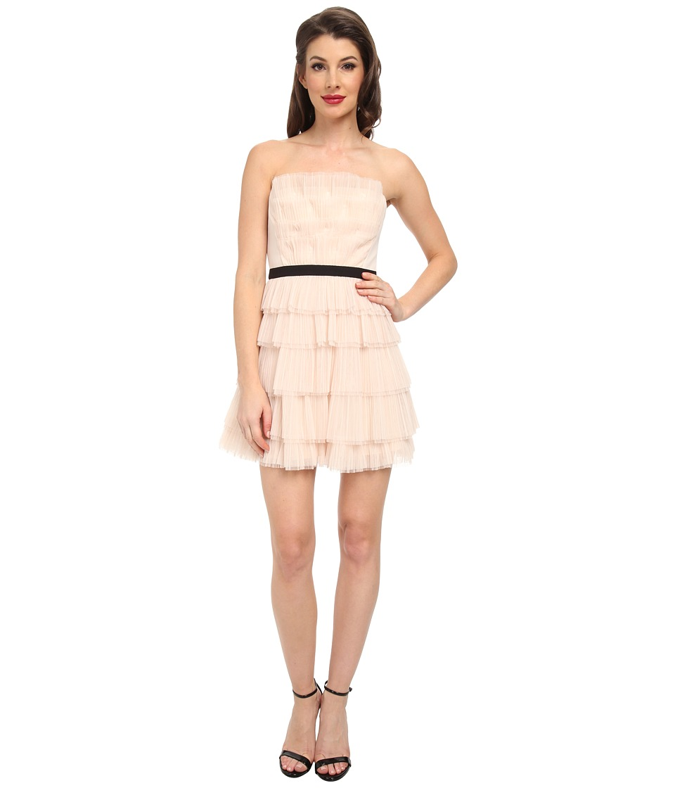 BCBGMAXAZRIA - Rayna Strapless Pleated Dress (Vanilla) Women's Dress