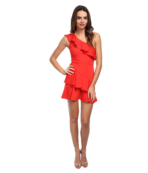 BCBGMAXAZRIA - Calinda One Shoulder Ruffle Dress (Bright Poppy) Women