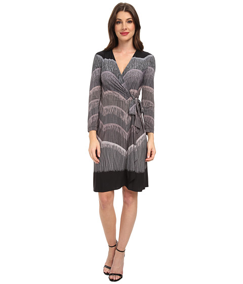 BCBGMAXAZRIA - Adele Printed Wrap Dress (Black Combo) Women