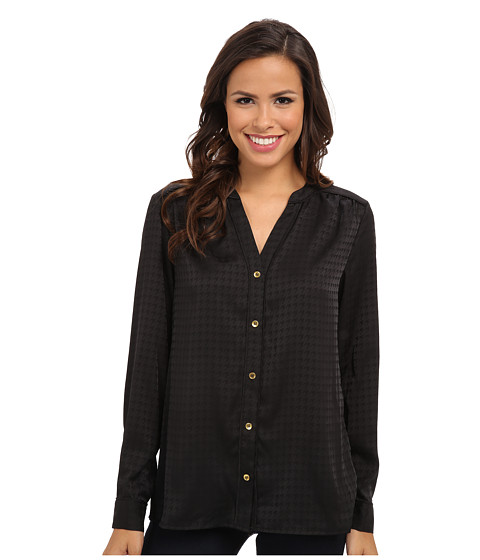 Jones New York - Button-Down Blouse with Shoulder Yoke (Black) Women