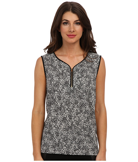 Jones New York - Zip Front Shell (Black/Ivory) Women's Sleeveless