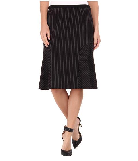 Jones New York - Fit and Flare Pinstripe Skirt (Black/Ivory) Women