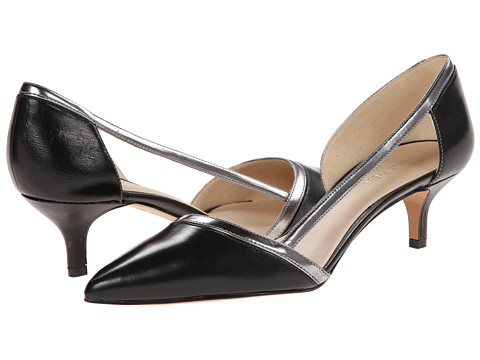 Shop Nine West online and buy Nine West Penelopea Black-Silver Leather Womens 1-2 inch heel Shoes shoes online