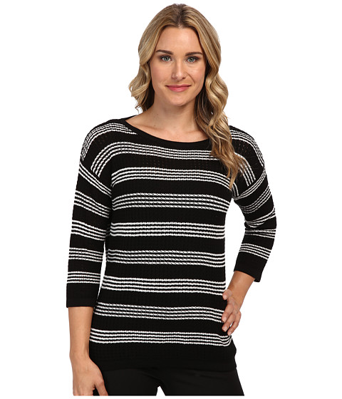 Jones New York - Stripe Drop Shoulder Pullover (Black/Ivory) Women's Long Sleeve Pullover