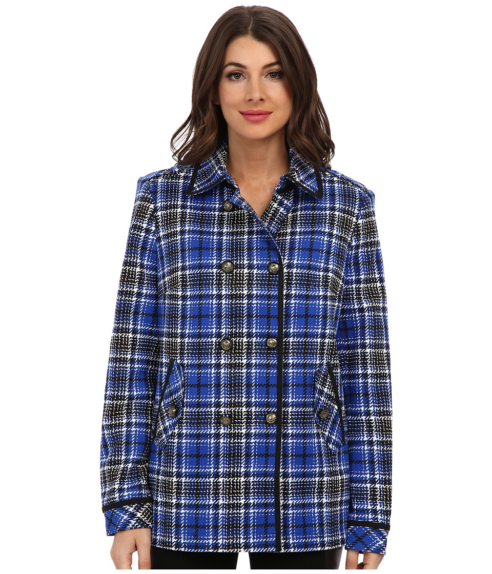 Jones New York - Double Breasted Jacket with Back Vent (Bright Cobalt Multi) Women's Coat