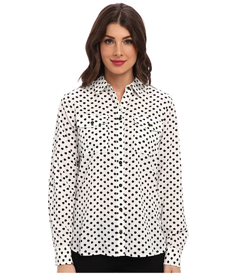 Jones New York - Roll Sleeve Safari Style Shirt (Ivory/Black) Women