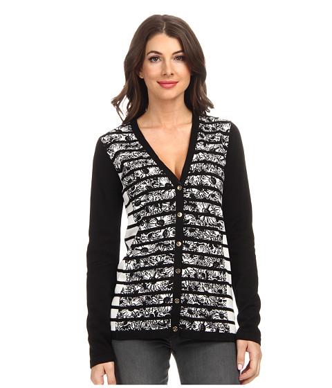 Jones New York - Long Sleeve V-Neck Cardigan Printed Front (Black/Ivory) Women's Sweater