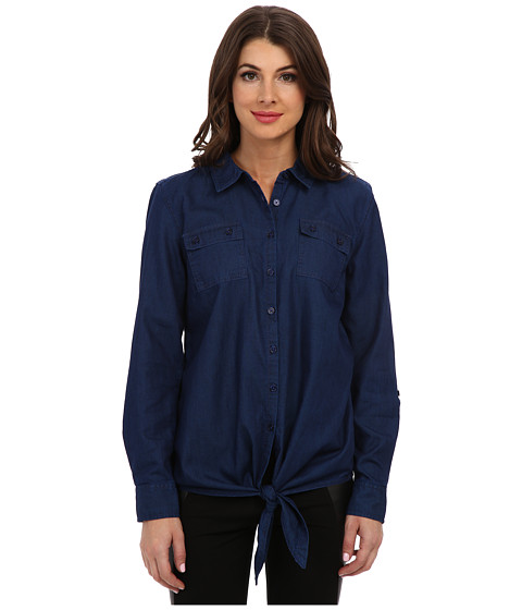 Jones New York - Tie Front Shirt (Oasis Wash) Women's Long Sleeve Button Up