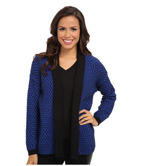 Jones New York - Long Sleeve Drop Shoulder Shawl Collar (Bright Cobalt/Black) Women