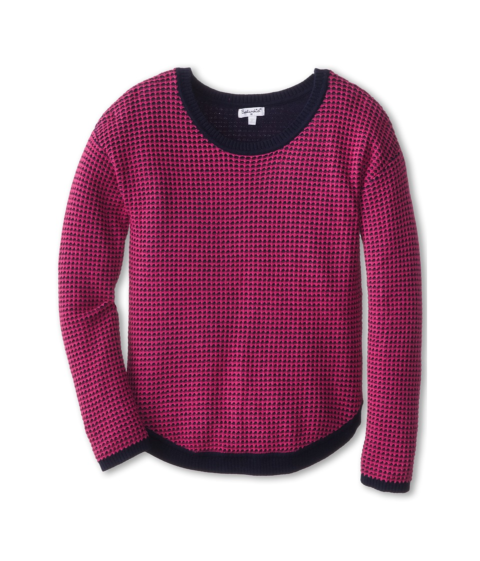 Splendid Littles - Maize Waffle Knit L/S Top (Big Kids) (Navy) Girl's Sweater