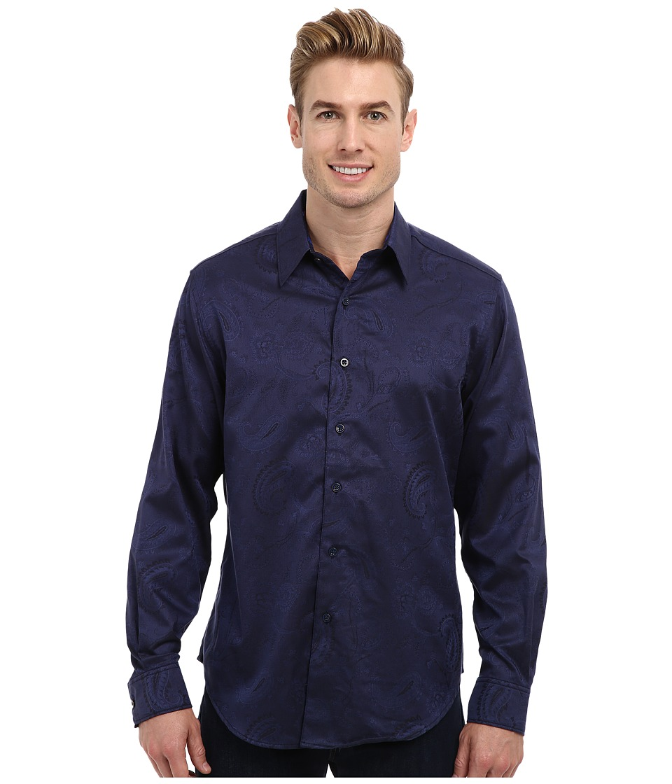 Robert Graham - Pyramid L/S Woven Sport Shirt (Navy) Men's Long Sleeve Button Up