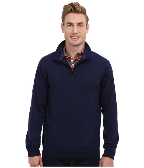 Robert Graham - Dene L/S Merino Sweater (Navy) Men's Sweater