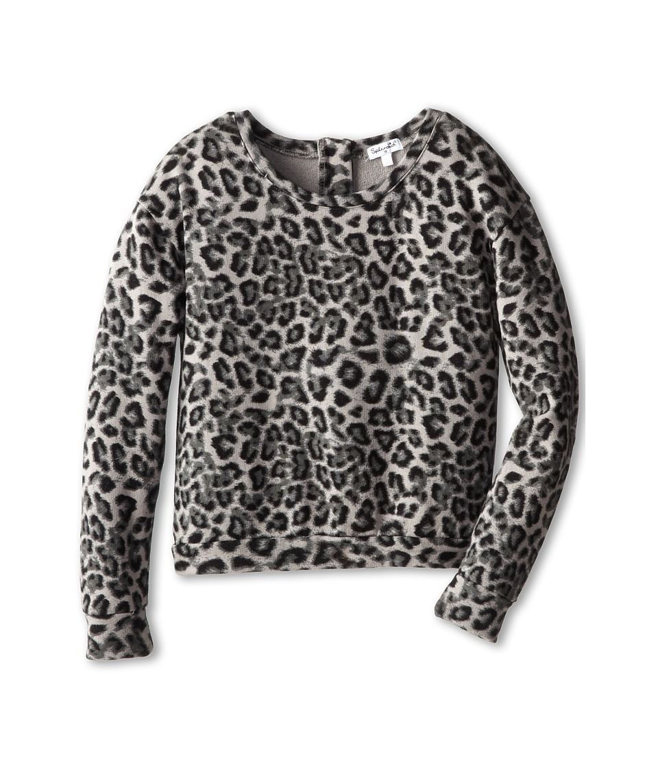 Splendid Littles - City Sweatshirt with Leopard (Big Kids) (Black) Girl's Sweatshirt