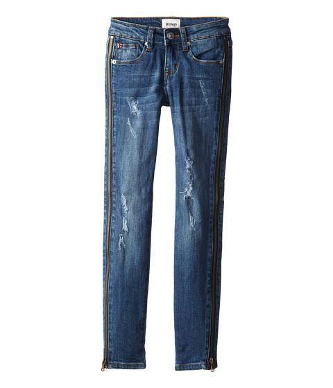 Hudson Kids - Rebel Rebel Five-Pocket Distressed Skinny with Zipper Detail Down Sides in Absinte Blue (Big Kids) (Absinte Blue) Girl's Jeans