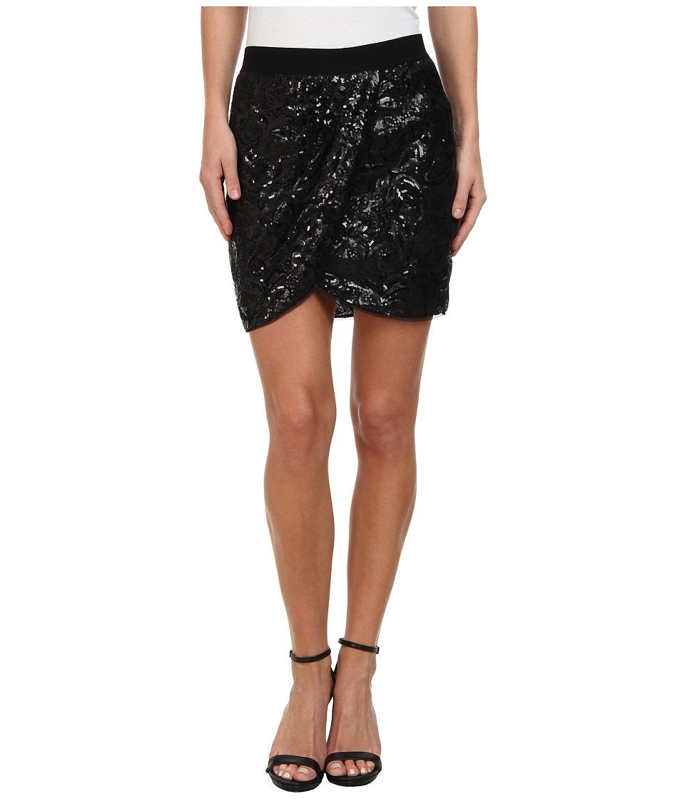 BCBGMAXAZRIA - Joanne Floral Garden Skirt (Black) Women's Skirt
