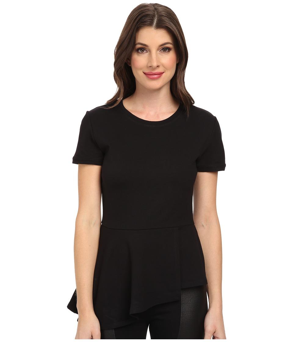 BCBGMAXAZRIA - Harlee Short Sleeve Top (Black) Women's Blouse