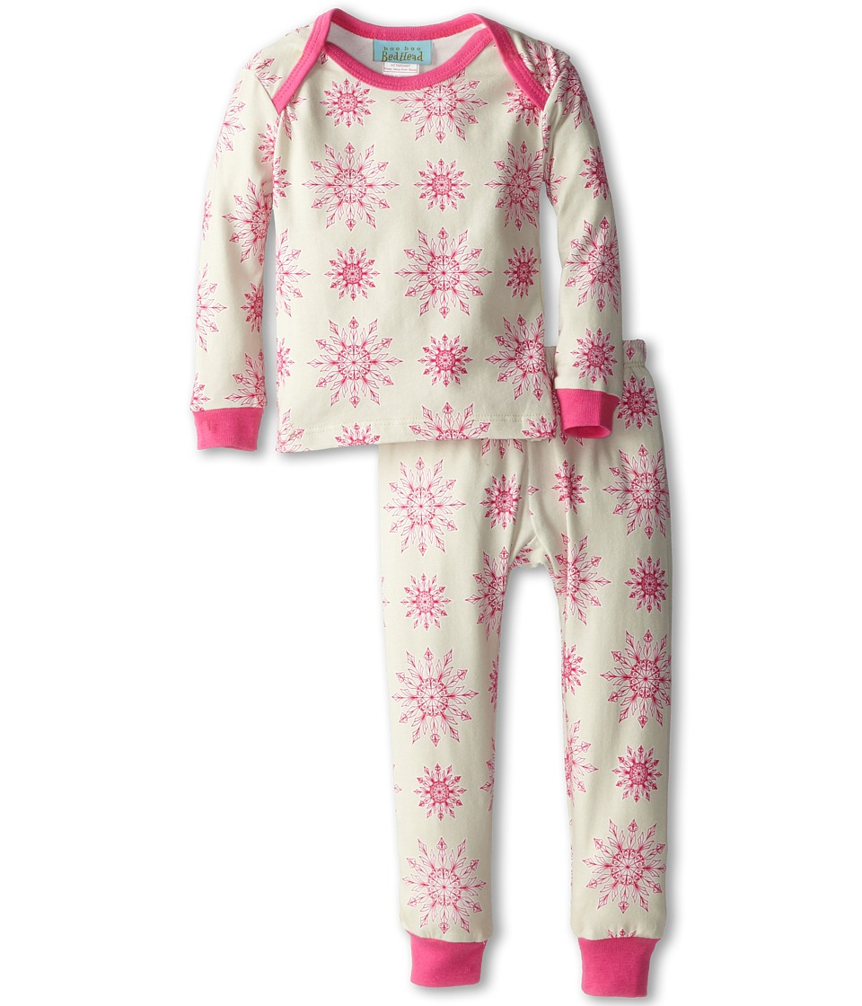BedHead Kids - Baby L/S Tee Pant (Infant) (Pink Snowflake) Girl's Pajama Sets