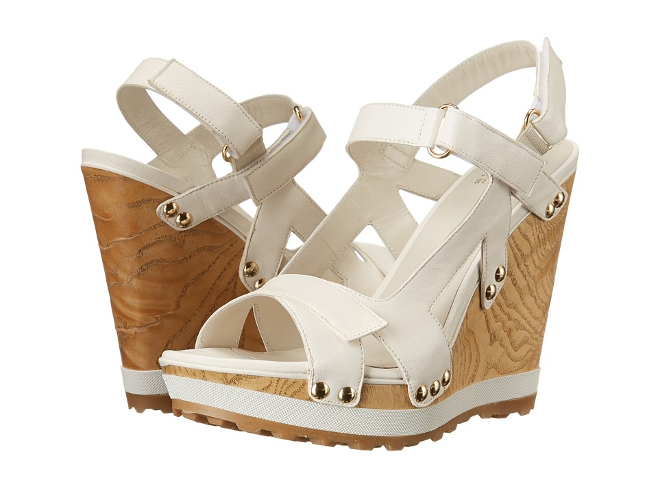 Stuart Weitzman Bandleader Chalk Nappa Womens Wedge Shoes