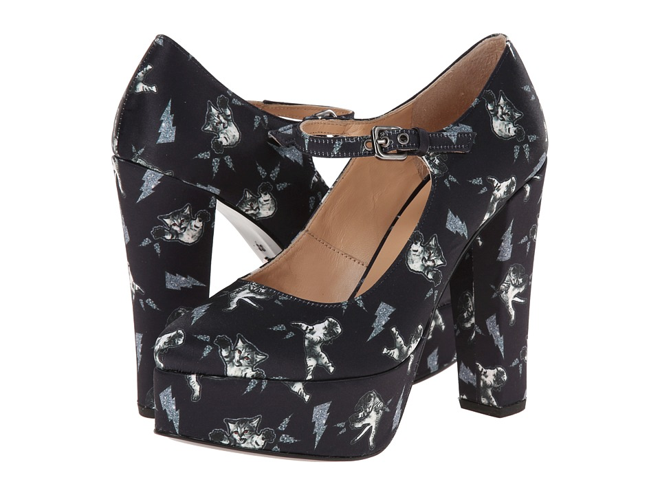 Markus Lupfer - ML102 (Fighting Cat Printed Navy Satin) Women's Maryjane Shoes