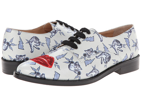 Markus Lupfer - ML069 (Grey Printed Leather/Red Sequin Lips) Women's Shoes