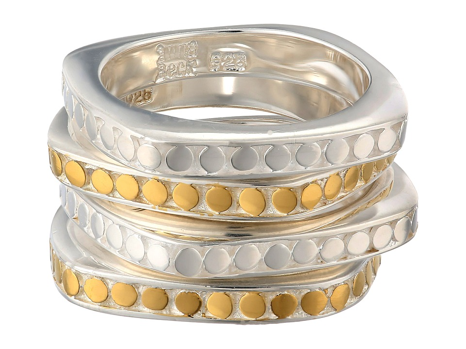 Anna Beck - Set of 4 Multi-Disk Stackable Rings (Sterling Silver w/ 18K Gold Vermeil) Ring