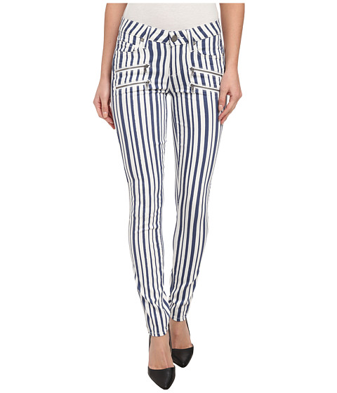 Paige - Edgemont Ultra Skinny in White/Navy Cyprus Stripe (White/Navy Cyprus Stripe) Women
