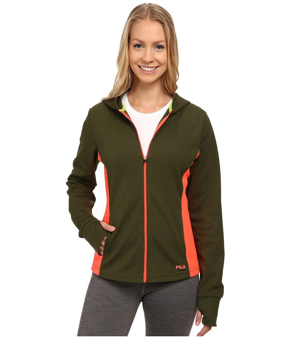Fila - May Hoodie (Rifle Green/Fiery Coral) Women's Sweatshirt