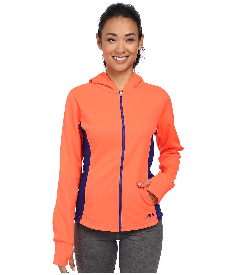 Fila - May Hoodie (Fiery Coral/Twilight) Women's Sweatshirt
