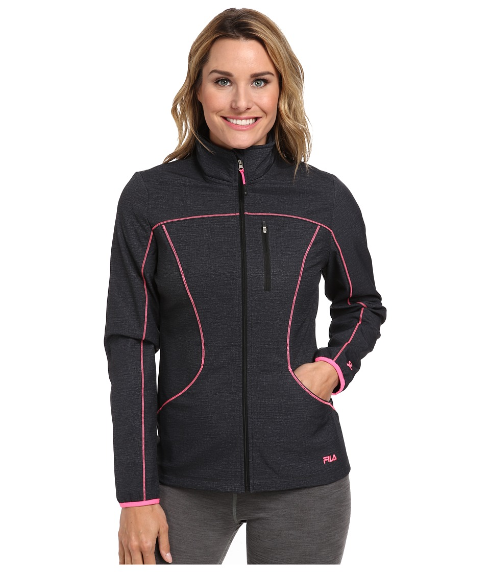 Fila - Uplands Jacket (Black Heather/Knockout Pink) Women's Coat