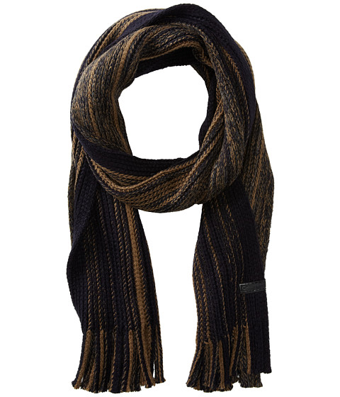 Calvin Klein - Tweed Chunky Raschel Muffler (Nautical Navy/Sage) Scarves