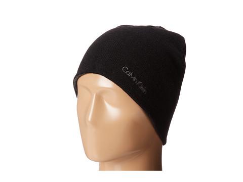 Calvin Klein - Solid Rever Hat (Black) Knit Hats