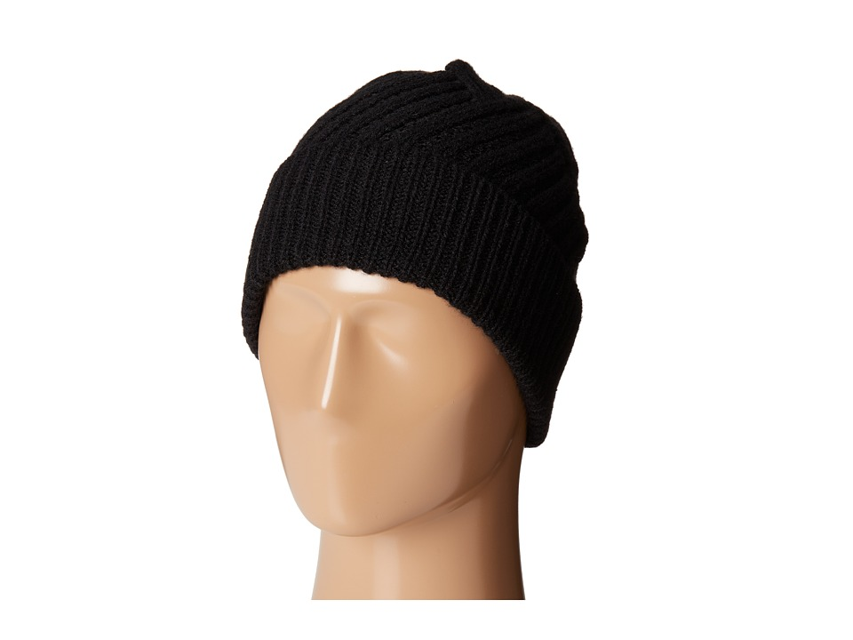 Calvin Klein - Geometric Rib Fold Up Cuff Hat (Black) Knit Hats