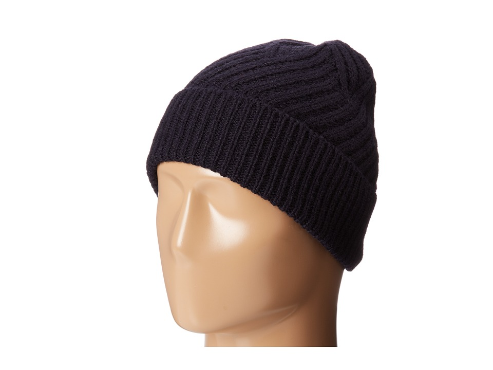Calvin Klein - Geometric Rib Fold Up Cuff Hat (Navy) Knit Hats