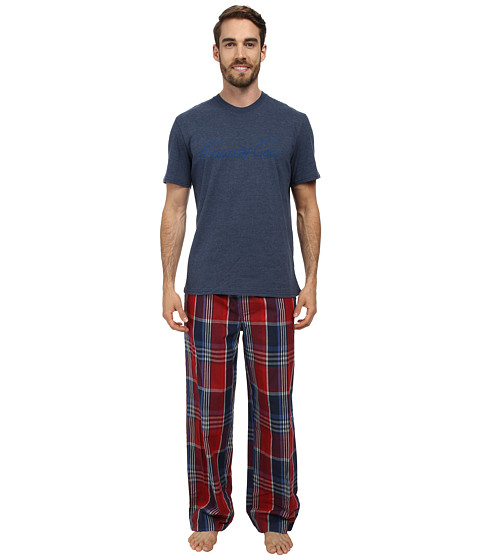 Kenneth Cole Reaction - Two-Piece Short Sleeve Lounge Set Holiday Gift Box (Dress Blues) Men's Pajama Sets