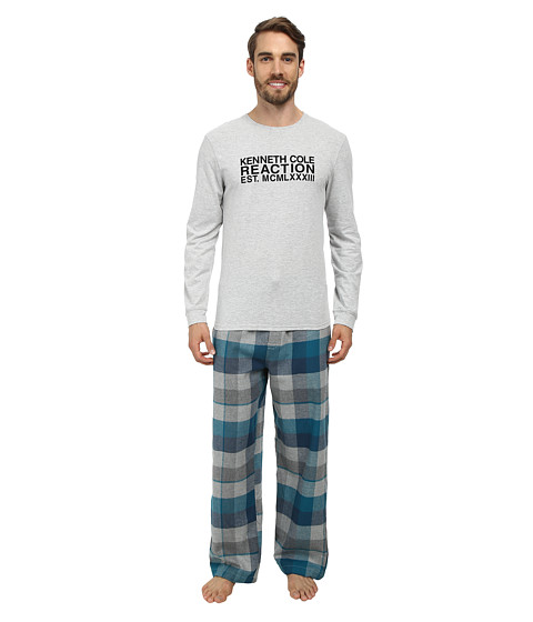 Kenneth Cole Reaction - Two-Piece Super Soft Long Sleeve Lounge Set Holiday Gift Box (Light Grey Heather) Men's Pajama Sets