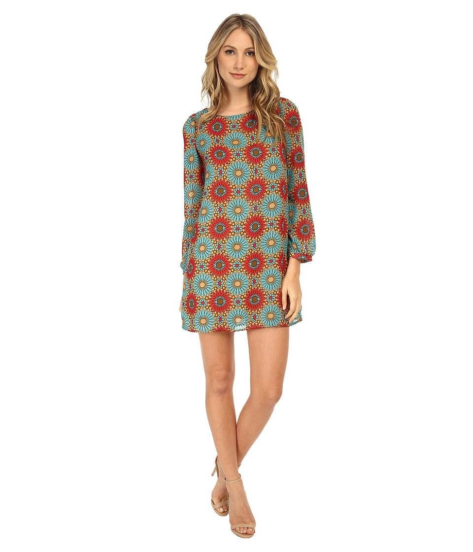 Christin Michaels - Erin Shift Dress (Blue/Red Flower) Women