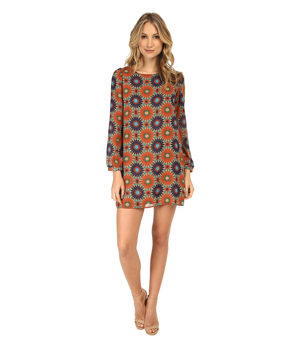 Christin Michaels - Erin Shift Dress (Navy/Orange Flower) Women's Dress