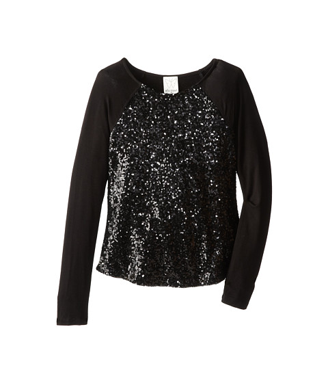 Ella Moss Girl - Renee Sequin L/S Top (Big Kids) (Black) Girl