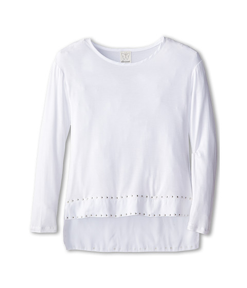 Ella Moss Girl - Cara Long Sleeve Top with Stud Details (Big Kids) (Off White) Girl