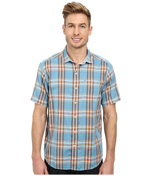 Tommy Bahama Denim - Double Maker Plaid S/S (Sea View) Men's Short Sleeve Button Up